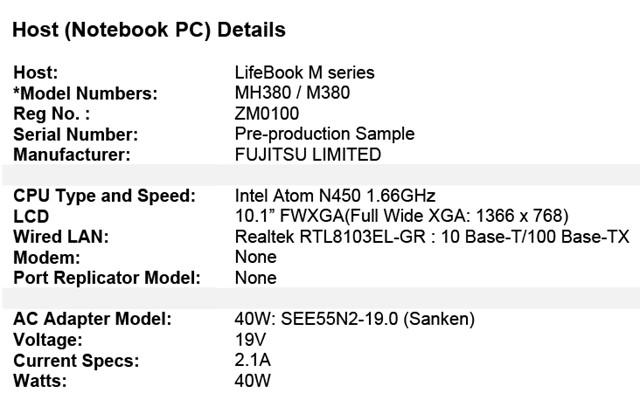 Fujitsu LifeBook MH380 FCC
