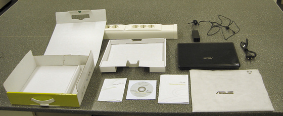 ASUS Eee PC 1201N a doboz tartalma
